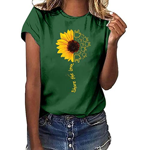 DAYPLAY Womens Tops Plus Size Sunflower Print Short Sleeved T-Shirt Blouse Girls Loose Fit Tee for Ladies Clothes Sale