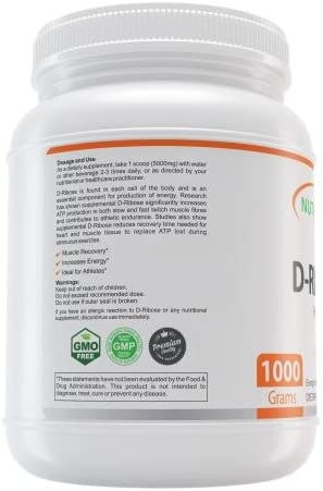 NutraBulk D-Ribose Powder - Muscle Builder, Energy Endurance Supplement. 1,000 Grams