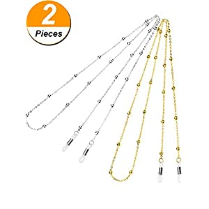 Hestya 2 Pieces Eyeglass Chain Beaded Glasses Cord Sunglasses Lanyard Retainer Strap, Gold and Silver