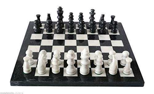 Italian Black and White Marble Chessboard Scacchiera Handmade Classic Table Chess Set with Pawns 40x40cm 16in ()