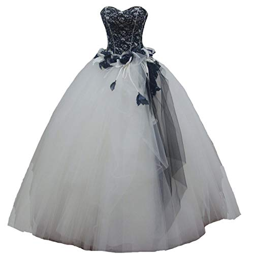 Kivary Long Gothic White and Black Lace Beaded Prom Gowns Wedding Dresses US 6