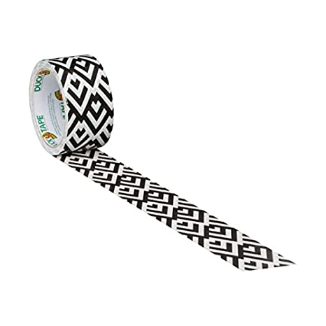 1.88 Inches x 10 Yards Single Roll 285220 Black and White Diamond Duck Brand Printed Duct Tape