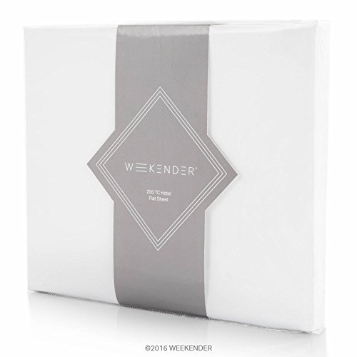 (WEEKENDER 200 Thread Count Hotel Flat Sheet - Cotton Rich Blend - White - Cal King, California)