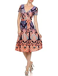 2LUV Plus Women's Printed Short Sleeve Mock Wrap Cocktail Dress