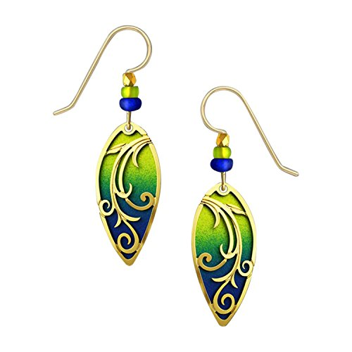 Adajio Lightweight Hand Painted Yellow Green Blue Beaded Dangle Earrings and Etched Goldtone Overlay