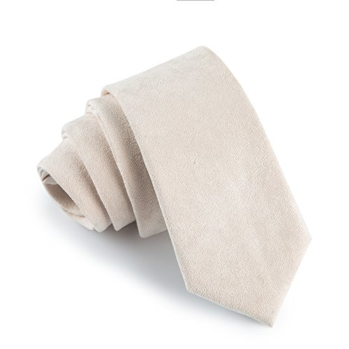 "Fan-tastik Mens Eco-friendly Handmade Cashmere Wool Slim Tie 2.4"" (6cm) Solid Color [ Ivory ]"
