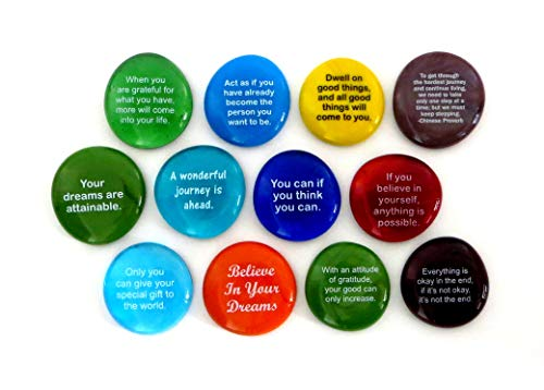 (Destiny Stones, 12 Glass Stones To Help You Create Your Own Future. Encouraging and Motivational Messages on Beautiful Word Rocks, by Lifeforce Glass.)
