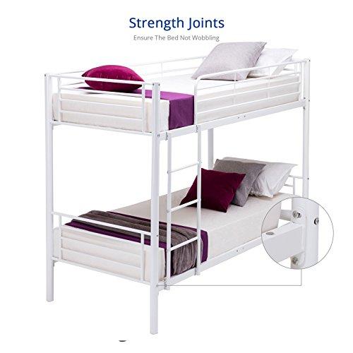 [DFM Twin over Twin Metal Bunk Beds Frame Ladder Kids Adult Children Bedroom Dorm (White)] (Metal Dorm Loft Beds)