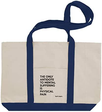 The Only Antidote Is Physical Pain (Karl Marx) Cotton Canvas Boat Tote Bag