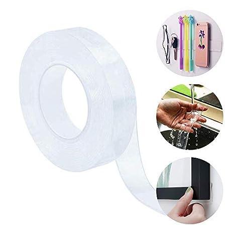 Anti-Slip Double Face Adh/ésif Nano Gel Collant Ruban de Silicone Lavable sans Traces Facile /à Retirer coller au Verre Mur Fourniture Surface Lisse 5 m/ètres Ruban Adh/ésif R/éutilisable