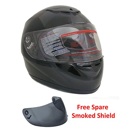 Motorcycle Full Face Helmet DOT Street Legal +2 Visors Comes with Clear Shield and Free Smoked Shield – Glossy Black XXL (22)