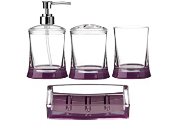brand new 4pc acrylic bathroom set in purple clear lotion dispenser toothbrush holder