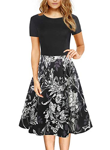 Women's Vintage Round Neck Floral Casual Pockets Tunic Party Cocktail Cotton A-Line Mid Length Spring Autumn Tea Dress with Pockets 162 (Black White L)