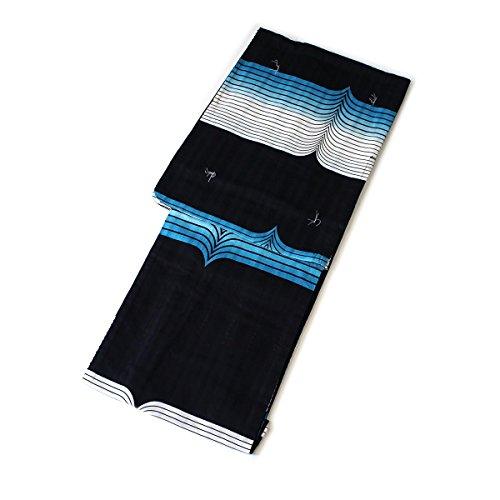 減衰レクリエーション色レディース 浴衣 単品 大正ロマン ボーダーグラデーション(ブルー) フリーサイズ 変わり織 レトロ X41-10