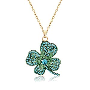ANGLESJELL Saint Patrick's Day Necklace Green Necklaces for Women Crystal Leaf Charm Pendant Necklaces