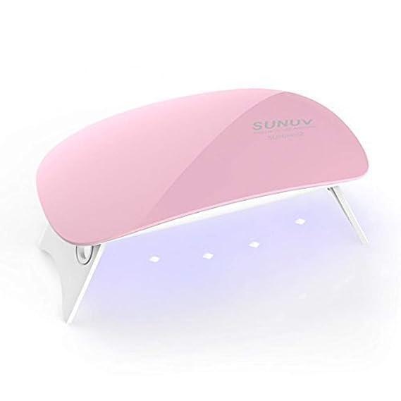 SUNmini 6W LED Lampara Uñas UV Secador de Uñas para Unas de Gel 2 Ajustes de Tiempo 45s y 60s,Rosa-SMC: Amazon.es: Belleza