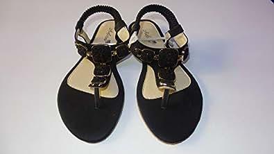 Adora Black Thong Sandal For Women