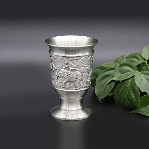 Oriental Pewter - Liquor Cup Pewter Pure Tin 97% Lead-Free BB3 Pure Tin 97% Lead-Free Hand Carved Beautiful Embossed Handmade in Thailand (Wine Souvenir)