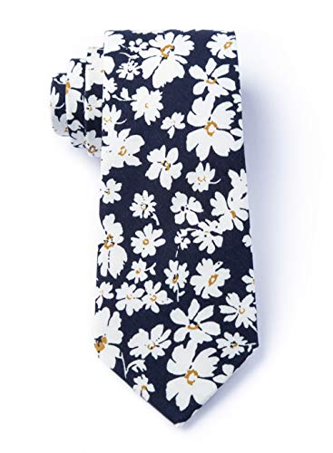 Men's Hipster Bold Romeny Floral Flowers Cotton Tie Necktie (Navy Blue) (Wedding Invitations Paisley)