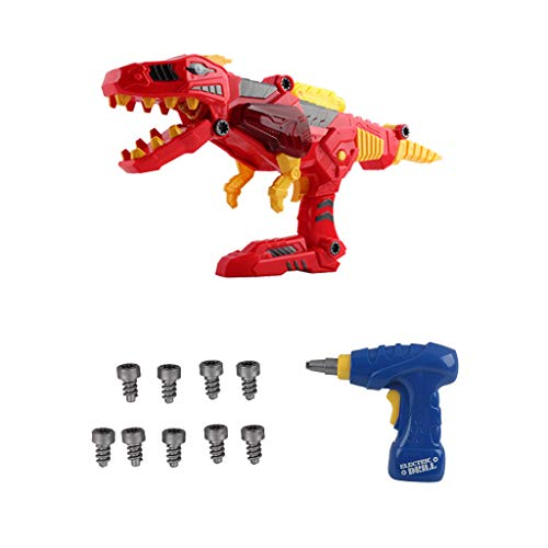 Bieay Dino Transformers Toy, 3-in-1 Transforming Tyrannosaurus Rex Dinosaur Gun Engineering Take Apart Toy with Lights and Sound (As Show) -