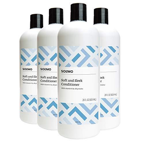 Amazon Brand - Solimo Soft & Sleek Conditioner for Dry or Damaged Hair, 28 Fluid Ounce (Pack of 4)