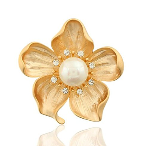 Sevenpring Lady Flower Alloy Rhinestone Brooch Pin (Golden)