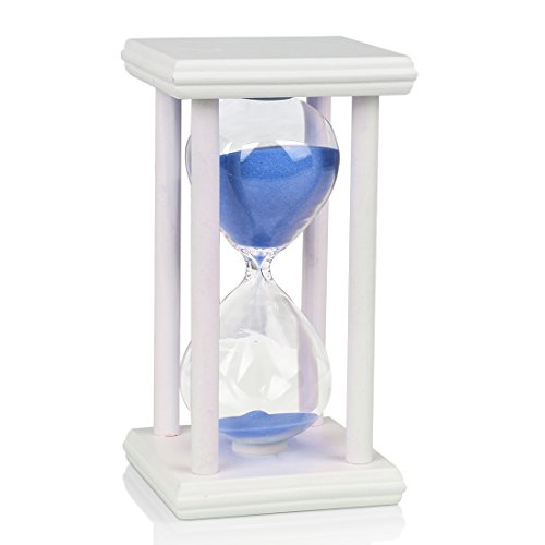 BOJIN 60 Minute Hourglass Sand Timer Wooden White Stand Hourglass Clock for Office Kitchen Decor Home - Blue Sand ()