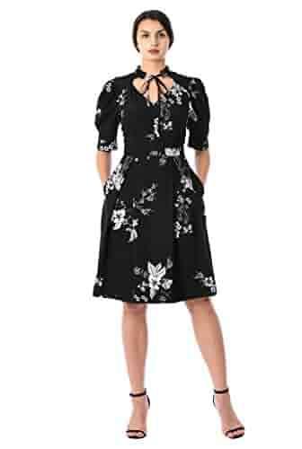 eShakti Women's Tie Neck Floral Print Crepe Dress