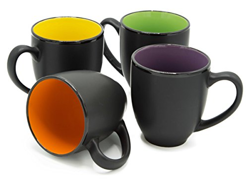 Ecodesign Drinkware Bistro Coffee Mug Set of 4 - Large 14 Ounce Ceramic - Tea Latte Cappucсino Cup - Assorted Matte Black Mugs w/Chalk and Coasters