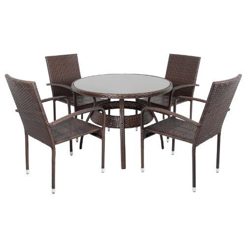 Brown Ravenna Rattan Wicker Aluminium Garden Dining Table Set With 4 Chairs