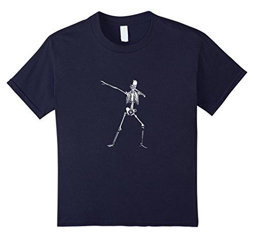 Kids Halloween Dabbing Skeleton T-Shirt Human Anatomy Dab 12 Navy
