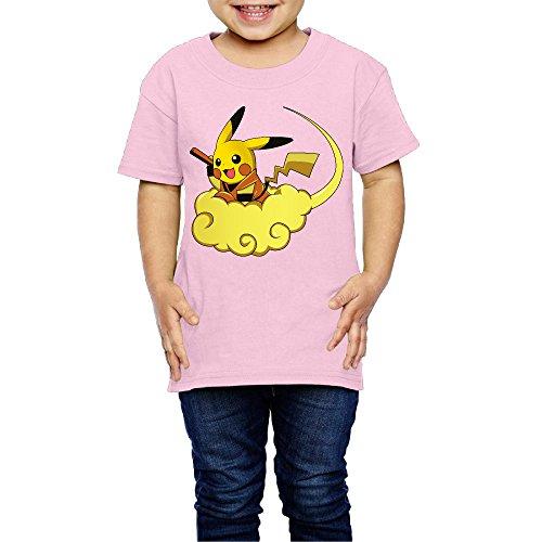2-6 Toddler Little Girl's Fly GokuChu Auspicious Clouds Cute Short-sleeve Tee Pink (Biodegradable 5 Tees)