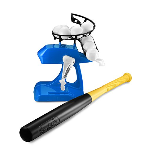 Adjustable Baseball Practice Intelligent Automatic Hit Pitching Machine for Kids Sports with Baseball Bat and 10 Balls Need 2 AA Batteries (Not Included)