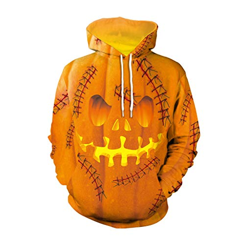 (NIUQI Mens Casual Scary Halloween Lover 3D Print Party Long Sleeve Hoodie Top Blouse)