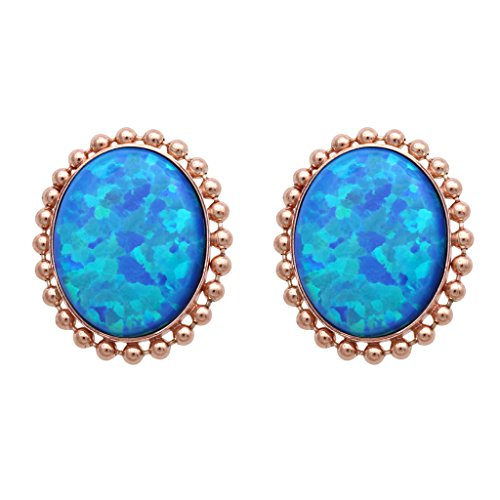 Jewelili 14K Rose Gold Plated Sterling Silver Created Blue Opal Oval Stud Earrings