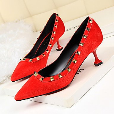 Stiletto Spring UK5 Heel US7 Hair Horse Rivet Comfort Dress CN38 5 5 Women'sHeels EU38 Fall YdwT11