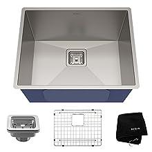 KRAUS Pax 22 1/2-inch 16 Gauge Undermount Single Bowl Stainless Steel Kitchen Sink, KHU23