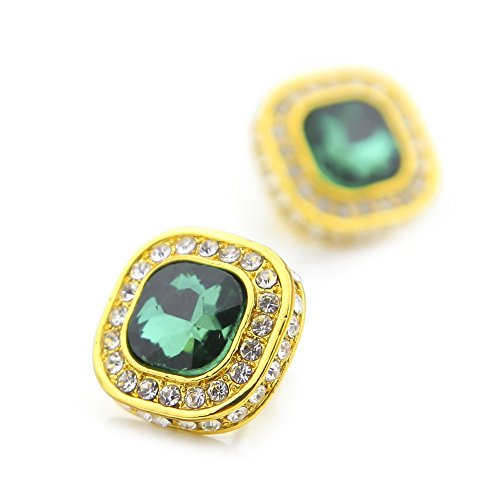 Hip Hop Dollar Sign Watch (HongBoom Hot Hip Hop 14K Gold Plated CZ Fully Iced-Out Blue Square Ruby Stud Earrings (Gold Green))