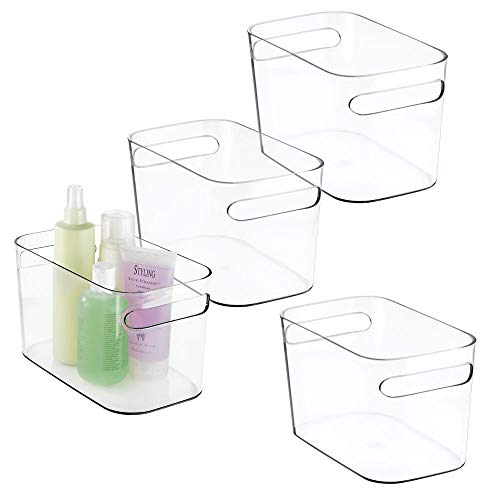 (mDesign Deep Plastic Bathroom Vanity Storage Bin with Handles - Organizer for Hand Soap, Body Wash, Shampoo, Lotion, Conditioner, Hand Towel, Hair Brush, Mouthwash - 10