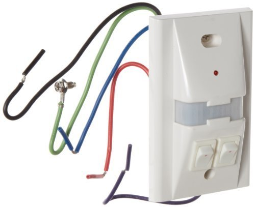 Hubbell WS1277W2 Passive Infrared Wall Switch, 2 Button, White, 1000sqft Max Sensing Range, 120/277VAC Voltage