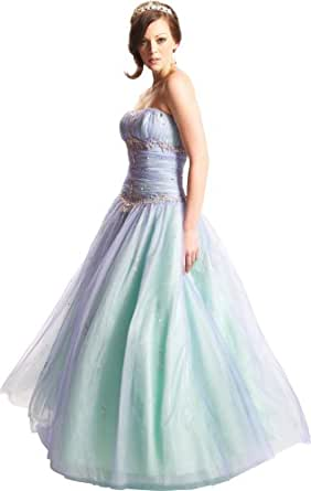 Beaded Mesh Fairy Prom Dress Formal Ball Gown, XS, Ocean