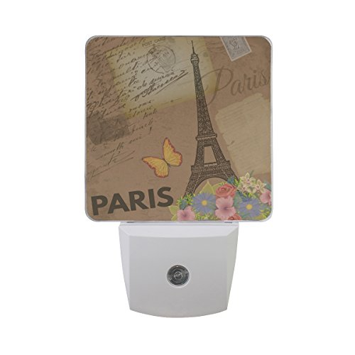 Naanle Set of 2 Paris Vintage Nostalgic Retro Old Postcards Letter Eiffel Tower Butterfly Colorful Flowers Auto Sensor LED Dusk to Dawn Night Light Plug in Indoor for Adults