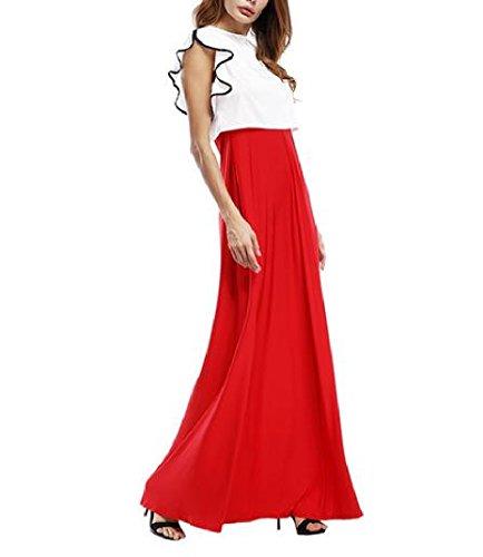 Été De La Mode Des Femmes Coolred Grand Ourlet 2 Pièces Robe Rouge En Tête