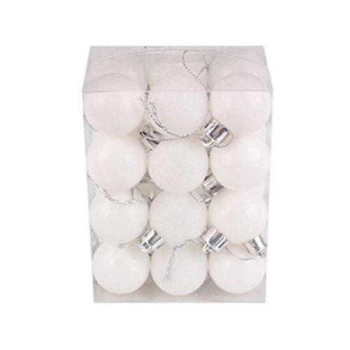 YJYdada 24Pcs Christmas Xmas Tree Ornaments Ball Shatterproof Hanging Home Decorations Tree for Wedding Party Decor (White) -