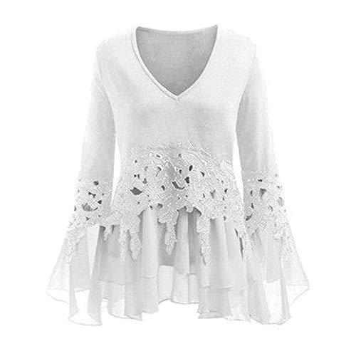 Femmes Ourlet Vintage Causal Plus en Cou Mode T T irrgulire Taille Hauts Blanc Manches Mousseline Gland Patchwork Shirt V Longues de Tops Shirt Soie Dentelle la XU1Xr