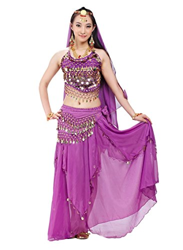 [AvaCostume Womens India Belly Dance Costume Sets, 5Purple] (India Costume Female)