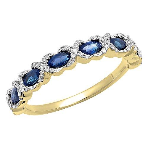 - Dazzlingrock Collection 14K Yellow Gold Marquise Blue Sapphire & Round White Diamond Ladies Vintage Wedding Band (Size 5.5)