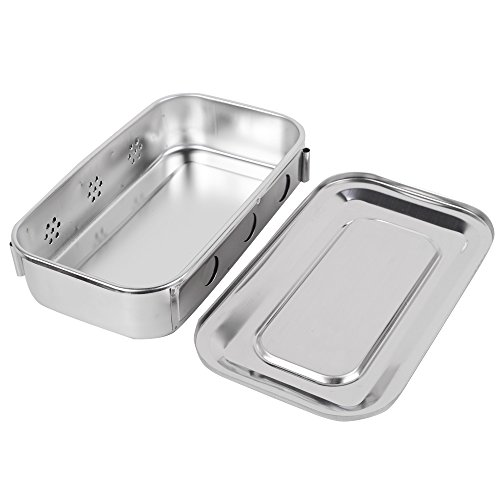 (zinnor Stainless Steel Sterilizer Box Square Dish With Lid Dental Instruments Storage Holder Tray Case)