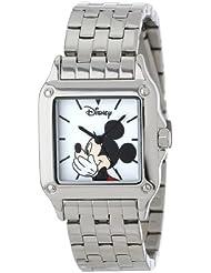 Disney Womens W000858 Square Steel Mickey Mouse Silver Tone Bracelet Strap Watch