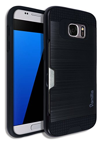 S7 Card Slot Case [Heavy Duty] Dual Layer [Slim Fit] Metallic Hard PC Back Cover + TPU S 7 Hybrid Rubber Bumper Rugged Ergonomic Cell Phone Mobile Carrying Wallet Samsung - Grain Case Full Metal Jacket